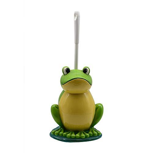Baoffs Hochwertige WC-Bürsten Cartoon-Lotus-Blatt-Frosch-Toiletten-Bürsten-Satz-Badezimmer-Reinigungs-Werkzeug mit Basis-Toiletten-Bürste Für eine schnelle Reinigung