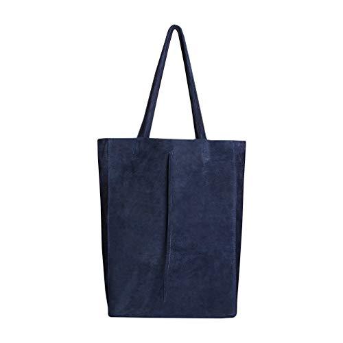 SKUTARI Original Vittoria Ruvido Shopper, Laptop- und Einkaufstragetasche aus echtem Veloursleder mit extra langen Griffen und Reißverschlussinnentasche | 36 x 38 x 13 cm - Wildleder-laptop-tasche