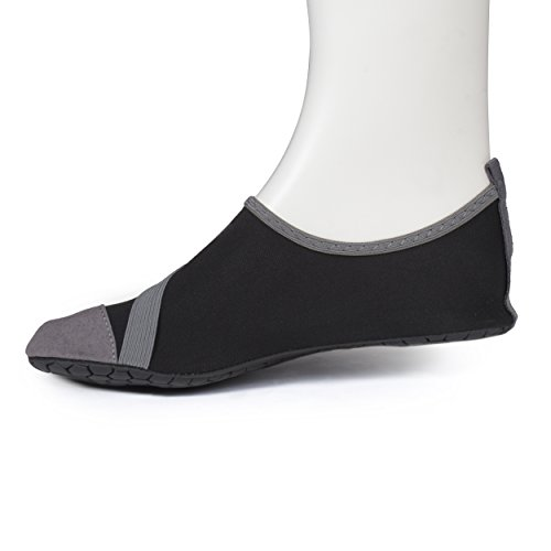 Fitkicks - Calzature resistenti allacqua, flessibili, basse, ballerine, da viaggio, per yoga Nero/Grigio