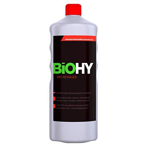 BIOHY WC-Reiniger 1 Liter Fl. 1er Pack Öko Urinsteinentferner extra stark, Toilettenreiniger Konzentrat, dickflüssiges Reinigungs-Gel, Hygiene & Frische Duft, Profi Bio-Reiniger, Reinigungsmittel