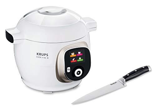 Krups CZ7101.MS Cook4Me+ Multikocher (6 Liter Fassungsvermögen, 1600 Watt, inkl. hochwertigem Tefal Kochmesser 20 cm und Dampfgareinsatz), weiß/grau