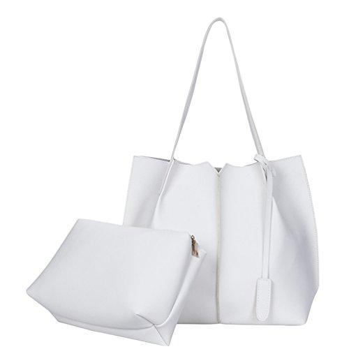 42417eb9306dc Anguang Damen Taschen Set PU Leder Schultertasche Tragetasche Handtasche  Umhängetaschen Weiß