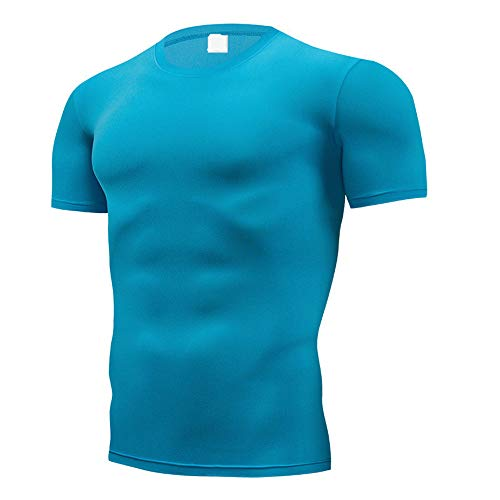 YURACEER Short-Sleeve Herren Sommer Mode Reine Farbe T-Shirt Männer Kurzarm Compression Enge T-Shirts Hemd Sommer Kleidung x1 Sky Blue XXXL (Parfüm Blue Sky Männer Für)