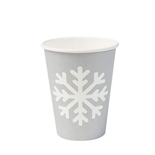 BIOZOYG winterliche Bio Einweggeschirr Becher mit Schneeflocken Motiv I kompostierbare Trinkbecher to Go Kaffee Becher 300ml / 12oz I 50 Kaffee-Becher biologisch abbaubar