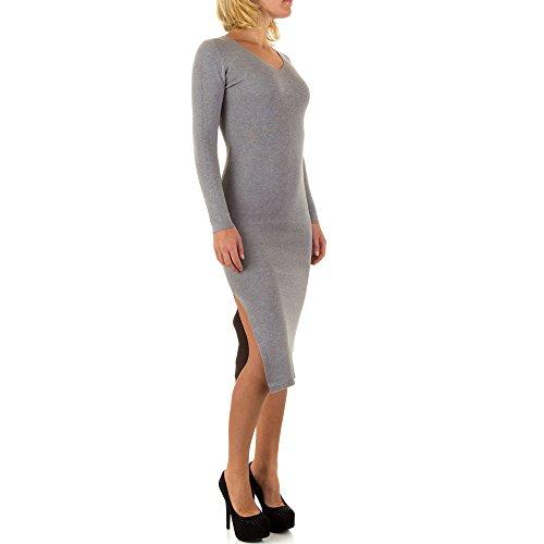 Geripptes Stretch Kleid Für Damen bei Ital-Design Grau