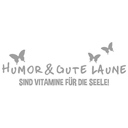 WANDKINGS Wandtattoo - Humor & gute Laune sind Vitamine für die Seele - 170 x 61 cm - Mittelgrau - Wähle aus 5 Größen & 35 Farben