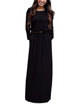ECOWISH Maxi vestito da cocktail pieghettato lungo manica lunga casual elastica da donna con la cinghia