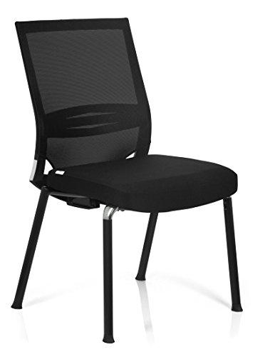 hjh OFFICE 657251 Konferenzstuhl Besucherstuhl PORTO V BASE Stoff / Netzstoff schwarz, ergonomisch...