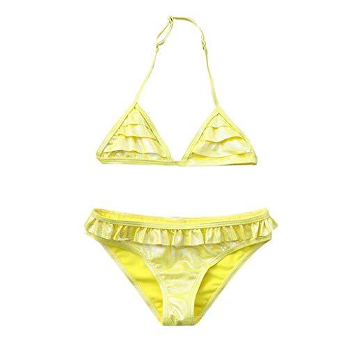 9c7ad3be3936 Innerternet Costumi da Bagno Due Pezzi da Bambina, Bikini Ragazza, Top  Reggiseno piege,