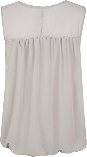 WearAll - Damen Plus Crochet Schmetterling Print Gefüttert ärmellose Spitze Weste Spitze - 4 Farben - Größe 44-54 Grau