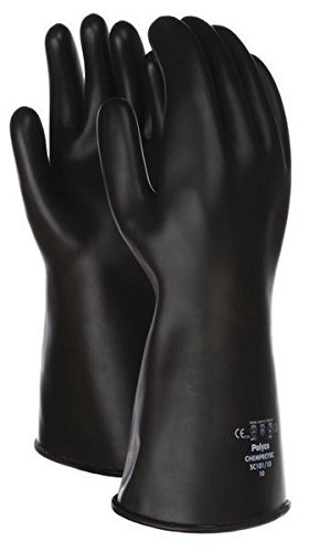 Black Long Chemprotec Heavy Duty Gauntlet Industrial Gloves 40cm Elbow Length Size 11 1 Pair (XX LARGE)
