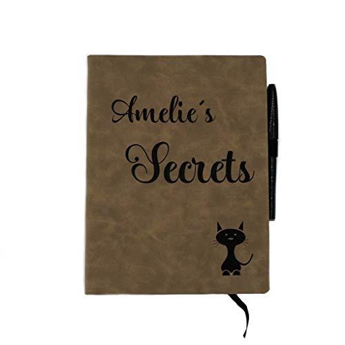 Gravurschmiede Notizbuch A5 Kunstleder blanko Skizzenbuch Tagebuch zum selber gestalten Vintage I Ihr Name.Denkarium braun