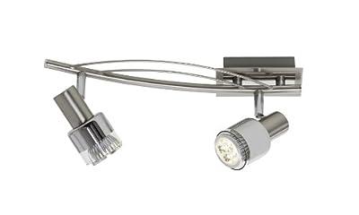 Trio-Leuchten LED-Balken in nickel matt/chrom, Glas chromfarbig/klar, inklusiv 2x GU10 6W LED, Breite: 35 cm 820610207 von Trio Leuchten bei Lampenhans.de