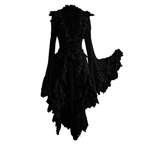 Lazzboy Kostüm Karneval Halloween Frauen Vintage Gothic Court Square Kragen Patchwork Bow Kleid Damen Korsett Lang Party Steampunk Korsage Fasching Corsage (Schwarz,2XL) (Baby Genie Kostüm)