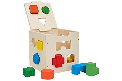 Schramm® Kinder Holz Steck Box Steckbox Geschicklichkeitsspiel für Kinder Holzspielzeug Sortierbox Steckspiel Holz Puzzle Steckwürfel Formensortierspiel 16 - teilig
