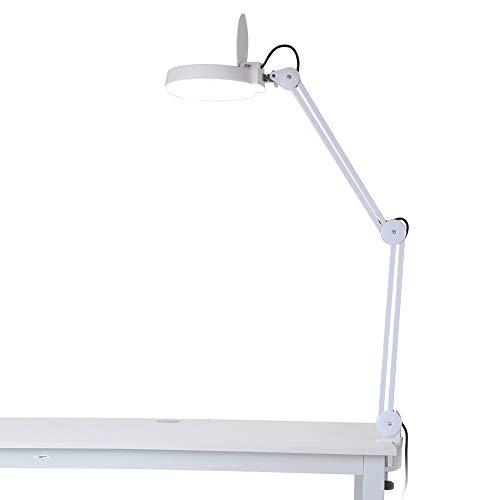 Gr-desktop-ram (XXIONG Lampe Lupe LED, Tischleuchte-Lupe Ästhetik verstellbar 8 Dioptrien Vergrößerung mit Beleuchtung Tischleuchte mit Zange für Ästhetik Lesung Reparatur Arbeit)