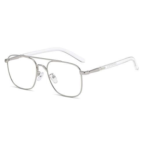 Z&HA Nicht-Verschreibungspflichtige Brille Flache Spiegel Männliche Myopie Vollbild Anti-Blau-Licht-Strahlung Brillen Computer-Telefon Der Frauen Augenschutz Brillen Anti-UV,Silver