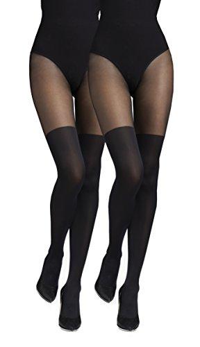 Marilyn blickdichte Strumpfhose 2er Pack, 60 Denier, Größe 40/42 (M/L), Farbe je 2x Schwarz (nero)