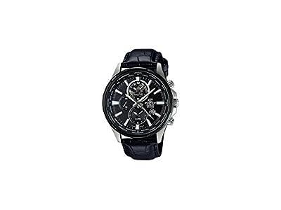 Casio-304BL EFR-1AVUEF-Edifice-Reloj hombre cuarzo, analógico,-Correa de cuero, color negro de Casio