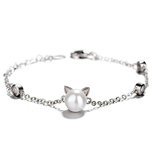 Yazilind Plated 925 Silber Perle Kätzchen Armband Damen Strass Zirkon Schmuck Einfache Geschenk Katze Ohr Perlenarmband -