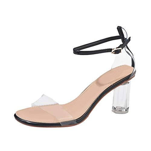 Dorical Damenschuhe Sandalen Schnalle-Schuhe High Heel Peep Toe Knöchelriemen Schuhe Transparente Schuhe Elegant Riemchensandalen Sandaletten mit Absatz Freizeit Party-Schuhe(Schwarz,39 EU)