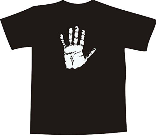 T-Shirt E352 Schönes T-Shirt mit farbigem Brustaufdruck - Logo / Grafik - filigraner Handabdruck 2D Schwarz