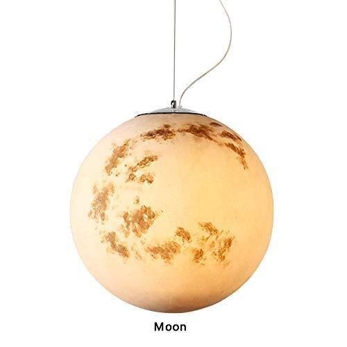 Xisoisi Erde/Sonne/Mond/Venus/Jupiter/Uranus/Mars/Saturn Pendelleuchte, E27 Kunstharz Lampenschirm 12W, Wohnzimmer Restaurant Hotel Art Deco Leuchten (Color : Saturn-25cm) -