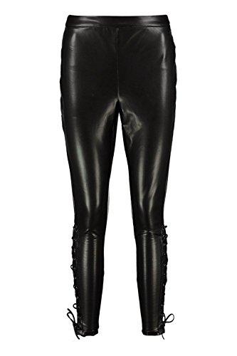 Noir Femmes Reign Pantalon Haut De Gamme Effet Cuir À Lacets Sur Le Côté Noir