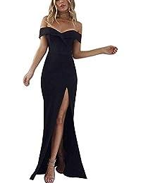 a7d05118b0 Oudan Vestido Elegante de Verano de Las Mujeres Fuera del Hombro de la Raja  Vestidos Ajustados Maxi (Color…