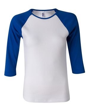 Ladies' Baby Rib 3/4-Sleeve Contrast Raglan T-Shirt WHITE/ TR ROYAL L (T-shirt Baby-womens Fitted)