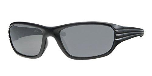Dudes und DUDETTES Jungen Kids Kinder, die 100% UV-Schutz Objektive Sonnenbrille Linien Design mit gratis Halbstarre Schutzhülle & String, Kinder, Black with Silver Stripe