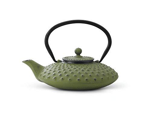 Bredemeijer jing g001gr - teiera asiatica in ghisa, capacità 0,8 litri, motivo a bolle in rilievo, colore: verde