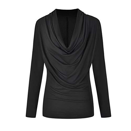 Geili Bluse Damen,Frauen Herbst Winter Mode Solide Langarm Cowl Neck Plissee Bluse T-Shirt Outwear Tops Oberteile Langarmshirt Basictop -