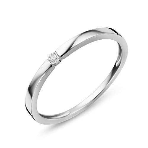 Orovi Damen Diamant Ring Weißgold, Verlobungsring 9 Karat (375) Gold und Diamant Brillanten 0.03 Ct, Solitärring (Damen Weißgold Diamant Ring)