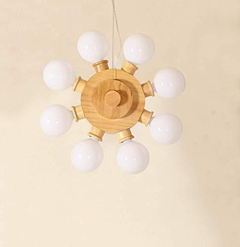 8-licht-esszimmer-kronleuchter (GWFVA Moderne Kronleuchter Kreative Holz Lampe 8 Kopf Restaurant Licht Pendelleuchte Esszimmer Kronleuchter Stehtisch Licht Holz E27 Anhänger mit Heimgebrauch)