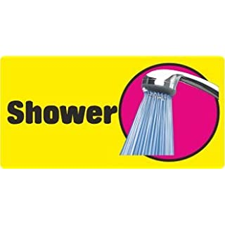 Advanced Printing Dementia Friendly Self-adhesive Shower sticker sign for Alzheimers and Partially Sighted (Standard 250x125 mm)