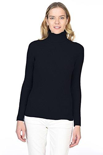State Cashmere Gerippter, langärmliger Pullover aus 100% reinem Kaschmir mit Rollkragen für Damen