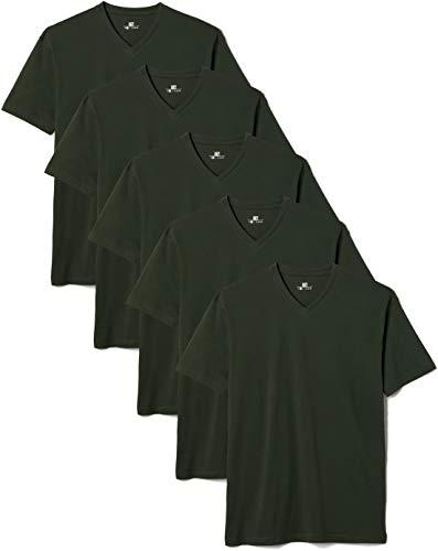 Lower East Herren T-Shirt mit V-Ausschnitt, 5er Pack, Grün (Dunkelgrün), X-Large