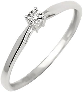 Bijoux pour tous - Anillo de oro blanco con diamante