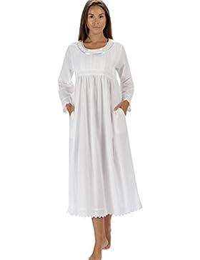 The1forU Camicia da notte 100% cotone, Manica Lunga Donna Camicia da notte Helena LS