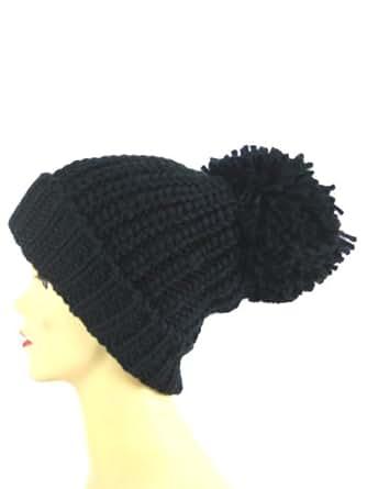 RCH mixte avec Fashion Bonnet en tricot de bonnet d'hiver XXL Pompon caniche Bonnet Bonnet à pompon, Noir