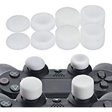 YoRHa Professional Thumb Grips Thumbstick Joystick Cap Cover (white) Extra High 8 Units Pack for PS4, Switch PRO, PS3, Xbox 360, Wii U tablet, PS2 controller