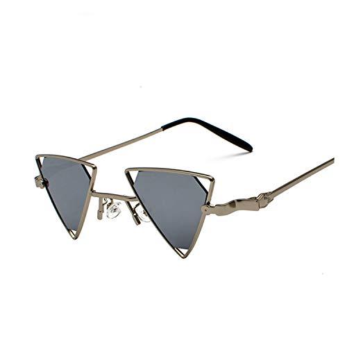 ShengEnn Sonnenbrille für Frauen-Lustige Sonnenbrille Dreieck Hohle Sonnenbrille Europa und Amerika Persönlichkeit Metall Sonnenbrille Silberrahmen grau Stück