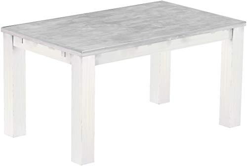 Brasilmöbel Esstisch Rio Classico 150x90 cm Beton Weiß Holz Tisch Pinie Massivholz Esszimmertisch Küchentisch Echtholz Größe und Farbe wählbar ausziehbar vorgerichtet für Ansteckplatten