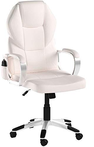 Mendler Massage-Bürostuhl HWC-A69, Drehstuhl Chefsessel, Heizfunktion Massagefunktion Kunstleder ~ Creme