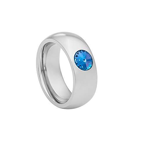 Heideman Ring Damen Coma 8 aus Edelstahl Silber farbend poliert Damenring für Frauen mit Swarovski Stein Kristall Saphir hell blau im Fantasie Edelsteinschliff 6mm (Blau Saphir 6mm)