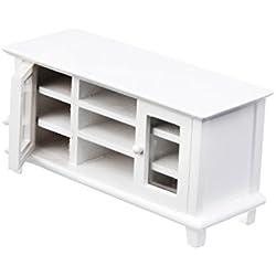 Meuble TV Armoire de Télévision Miniature en Bois pour 1/12 Maison de Poupée - Blanc