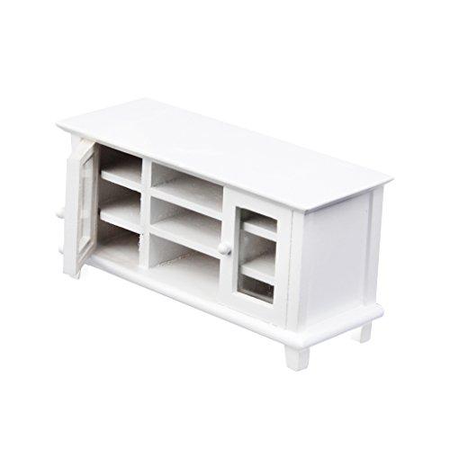 Preisvergleich Produktbild 1:12 Puppenhaus Miniatur Aus Holz TV Kabinett weiß