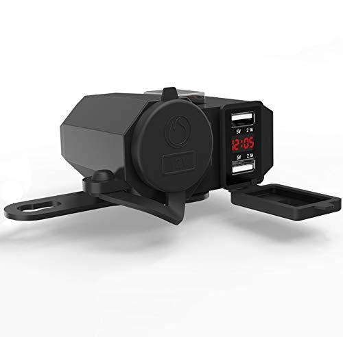 Motorrad Lenker Power Wasserdichte Dual USB 12 V Ports Telefon Ladegerät Adapter, Zigarettenanzünder, Voltmeter Dual-telefon