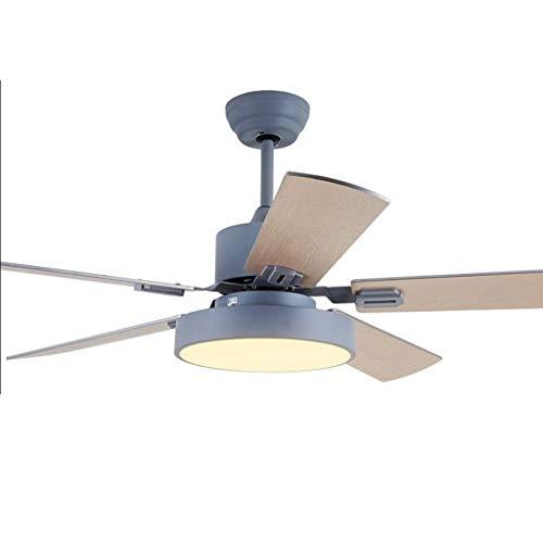 Leises Deckenventilatorlicht Moderne industrielle Deckenventilator Licht LED-Licht Kit Fernbedienung leise energiesparende Dekoration Fan 42/52 Zoll Energie sparen ( Color : Gray , Größe : 52 inches ) -